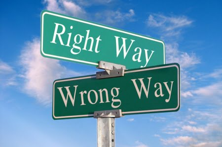 "Picture of signs which say ""Right Way and Wrong Way"""