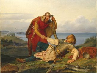 The Norwegian warrior Örvar-Oddr bids a last farewell to his blood brother, the Swedish warrior Hjalmar, by Mårten Eskil Winge (1866)